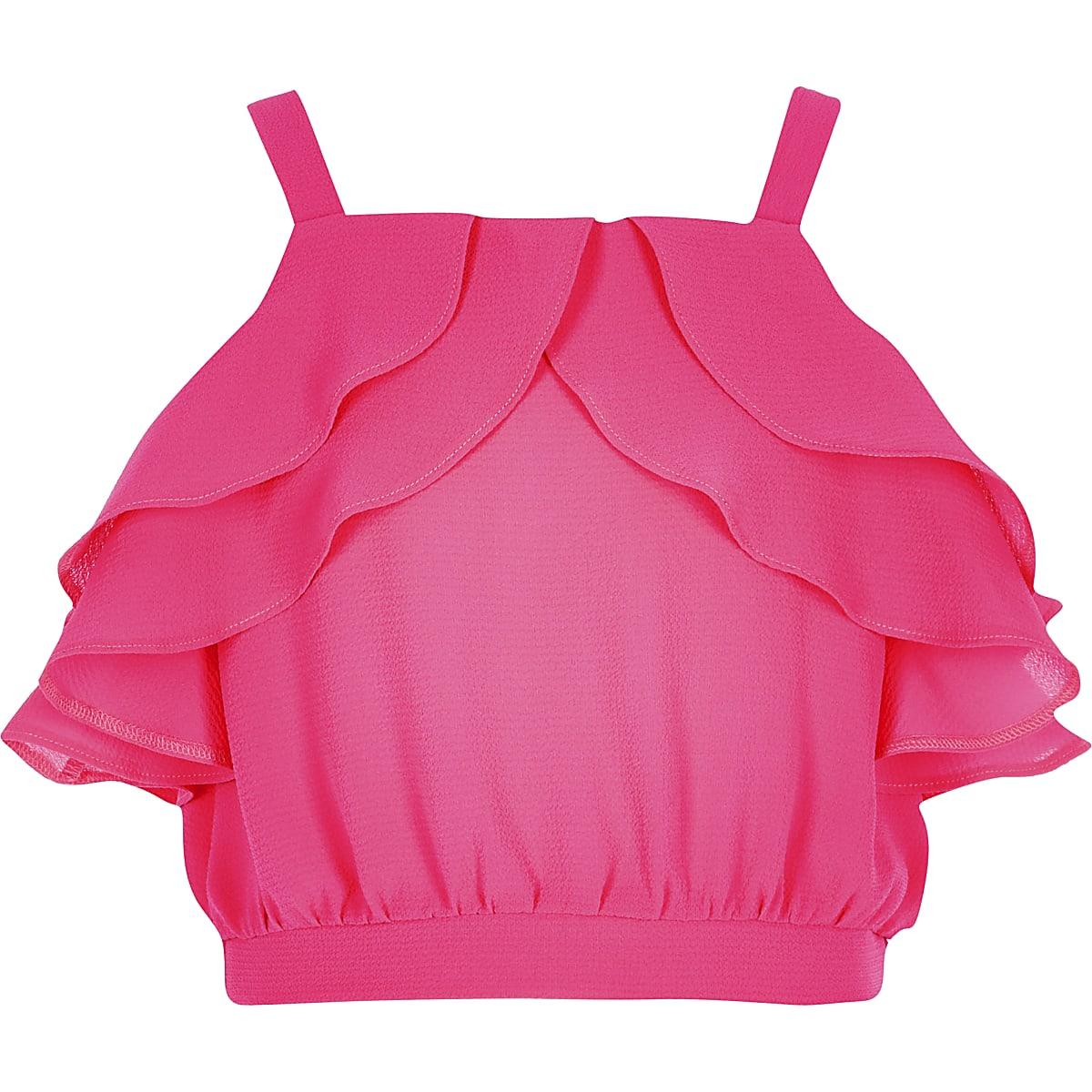 Girls pink ruffle crop top