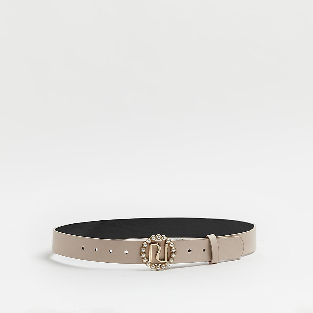 Girls pink pearl buckle belt