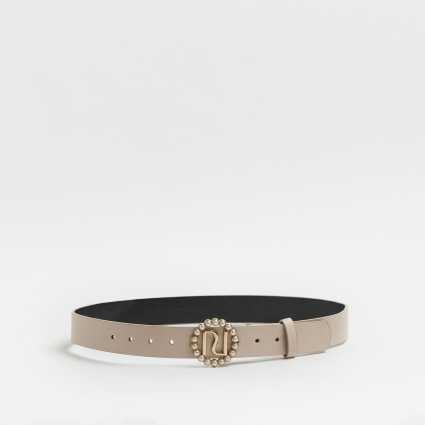 Girls pink pearl buckle belt
