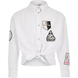 Girls white embellished knot front shirt