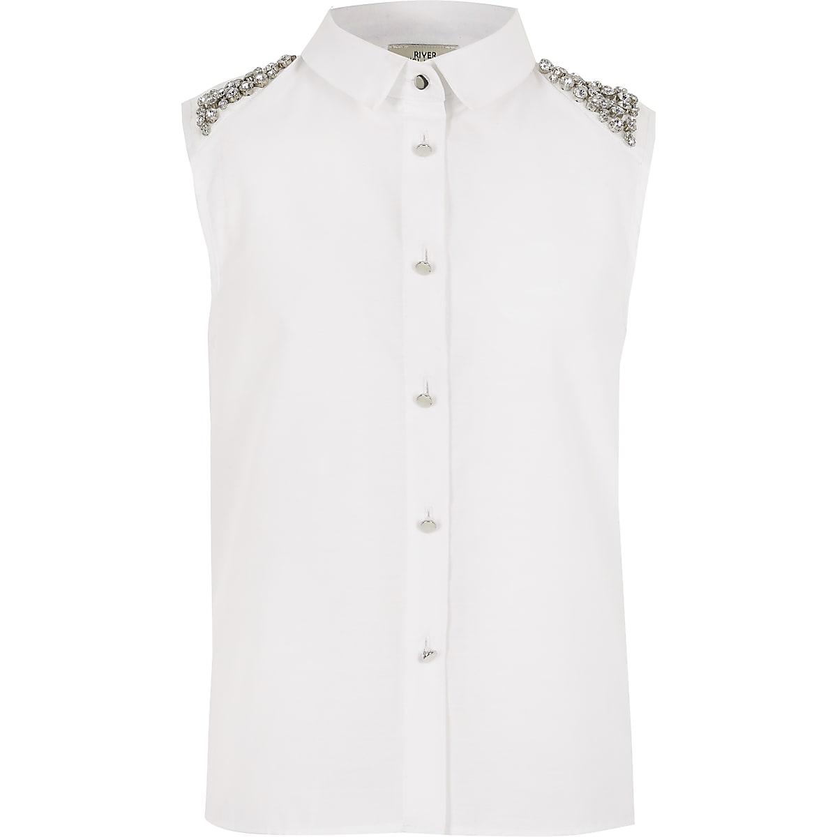 Mouwloos overhemd met verfraaide schouderstukken voor meisjes