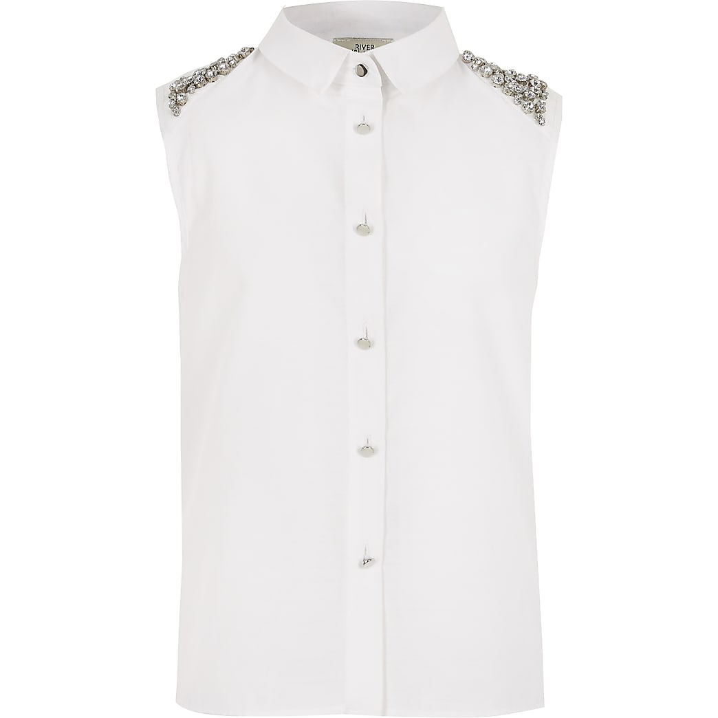 Girls embellished shoulder sleeveless shirt