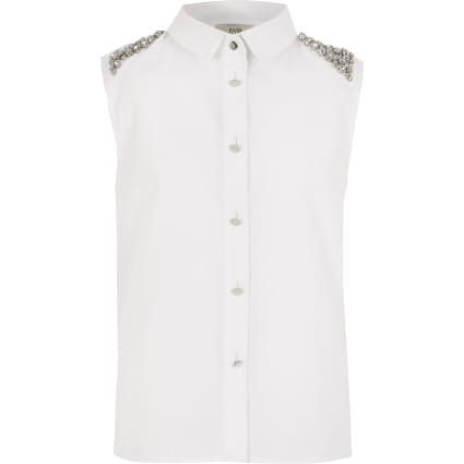 Girls embellished shoulder sleeveless shirt