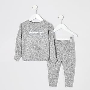 """Bequemes Outfit """"be amazing"""" in Grau für kleine Mädchen"""