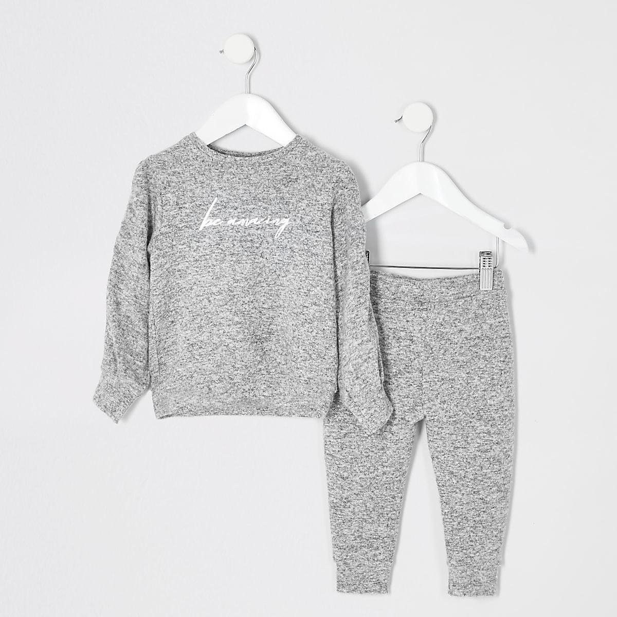 Mini - Grijs knus outfit met 'be amazing'-tekst voor meisjes