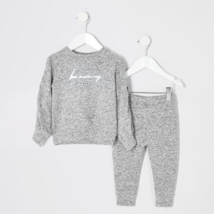 Mini girls grey 'be amazing' cosy outfit