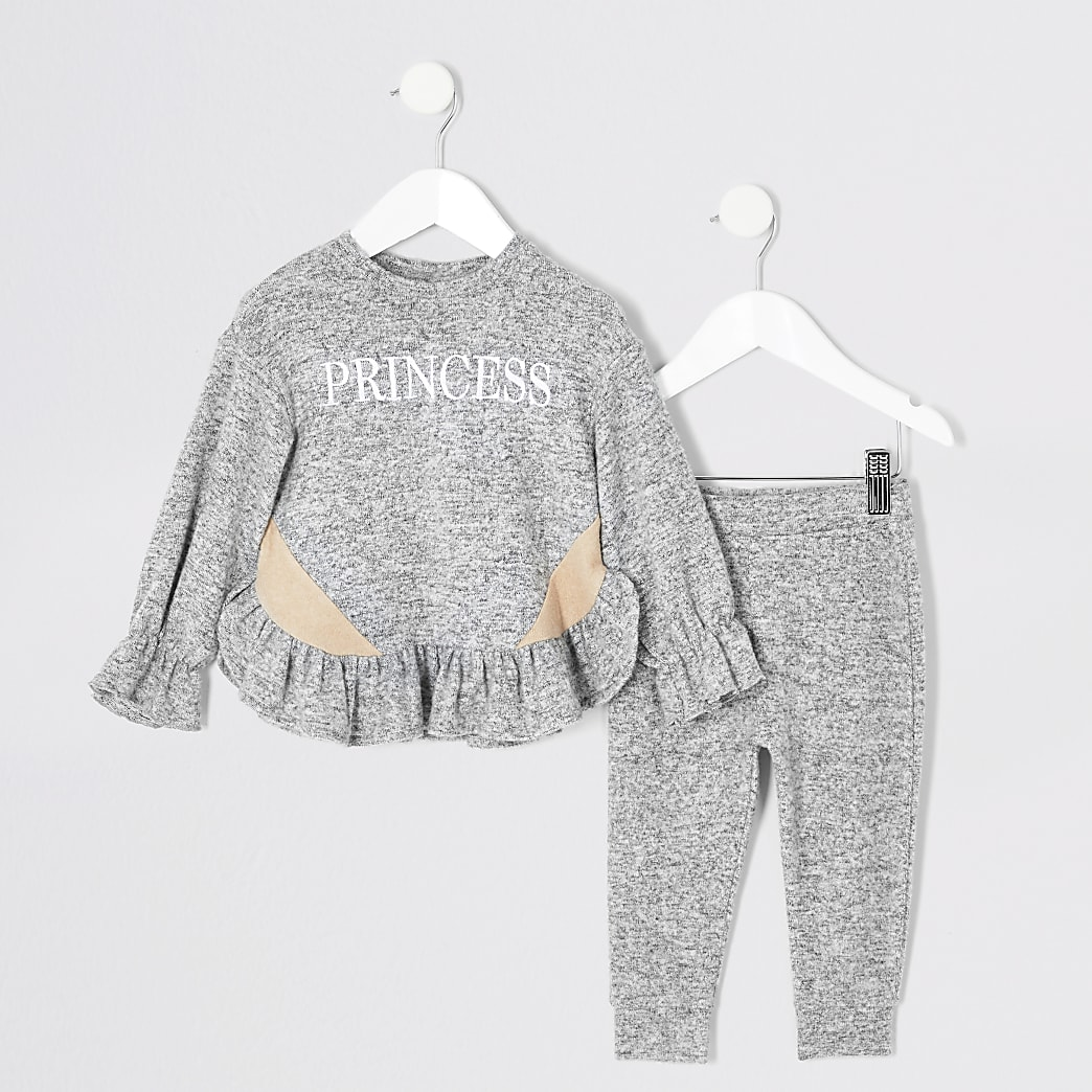 Mini - Grijs knus outfit met 'princess'-tekst voor meisjes