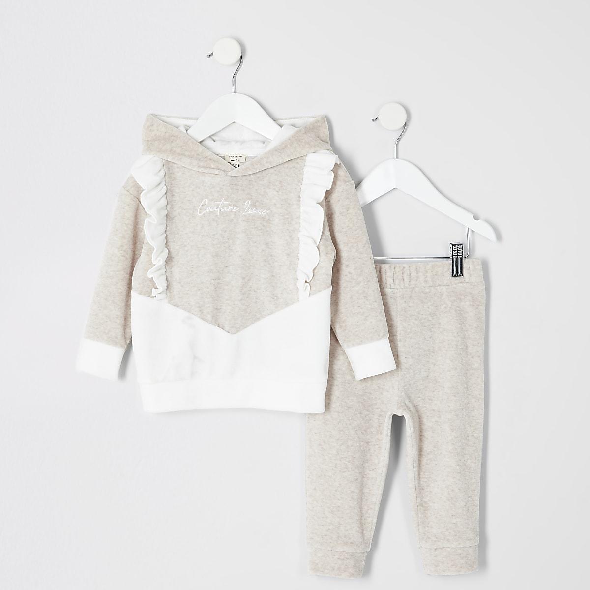 Mini - Outfit met hoodie van velours met 'couture'-tekst voor meisjes