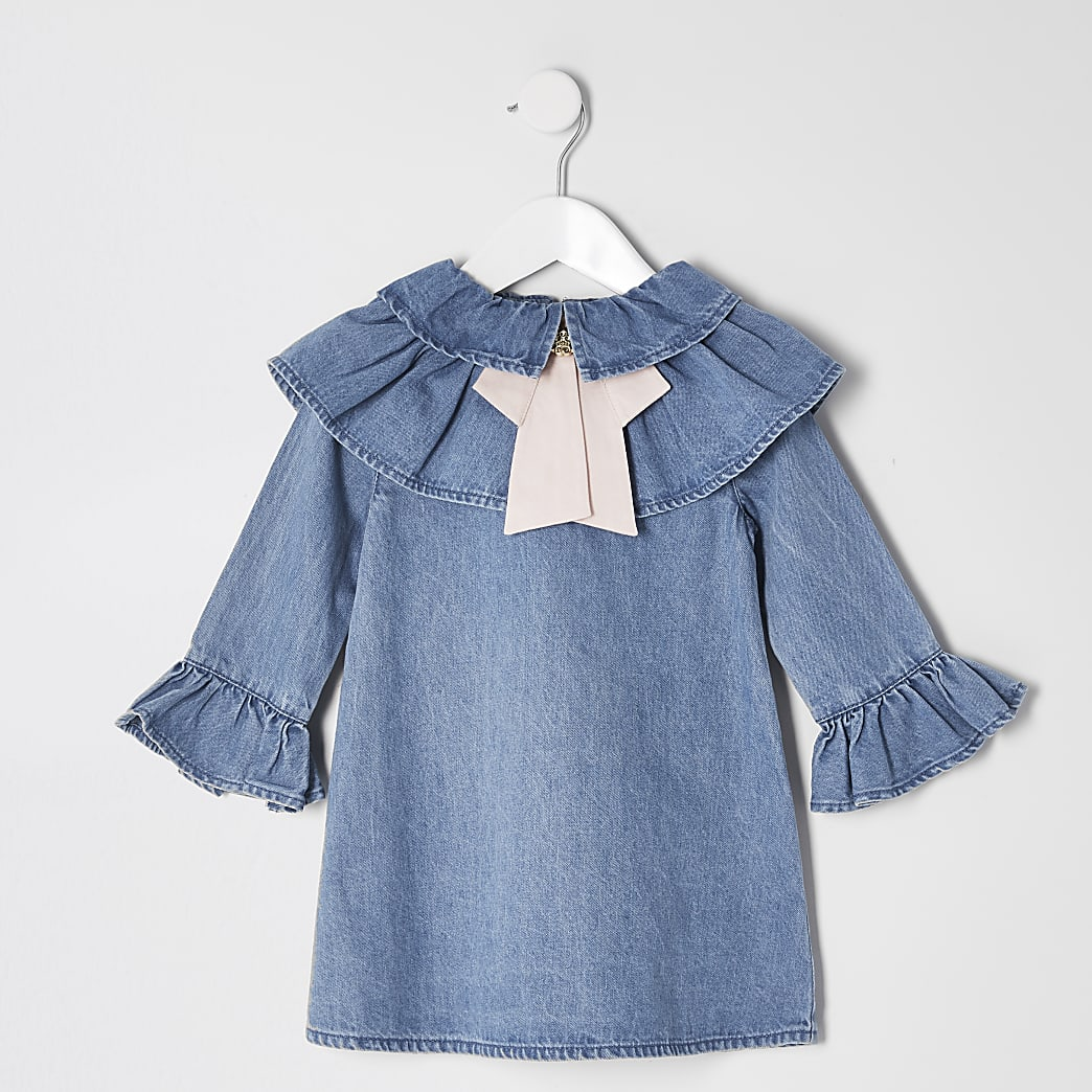 Mini girls blue denim bow trapeze dress