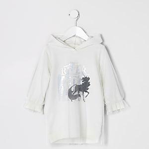 Weißes Hoodie-Kleid mit Einhorn und Mesh-Einsatz für kleine Mädchen