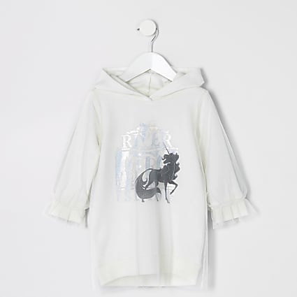 Mini girls white unicorn mesh hoodie dress