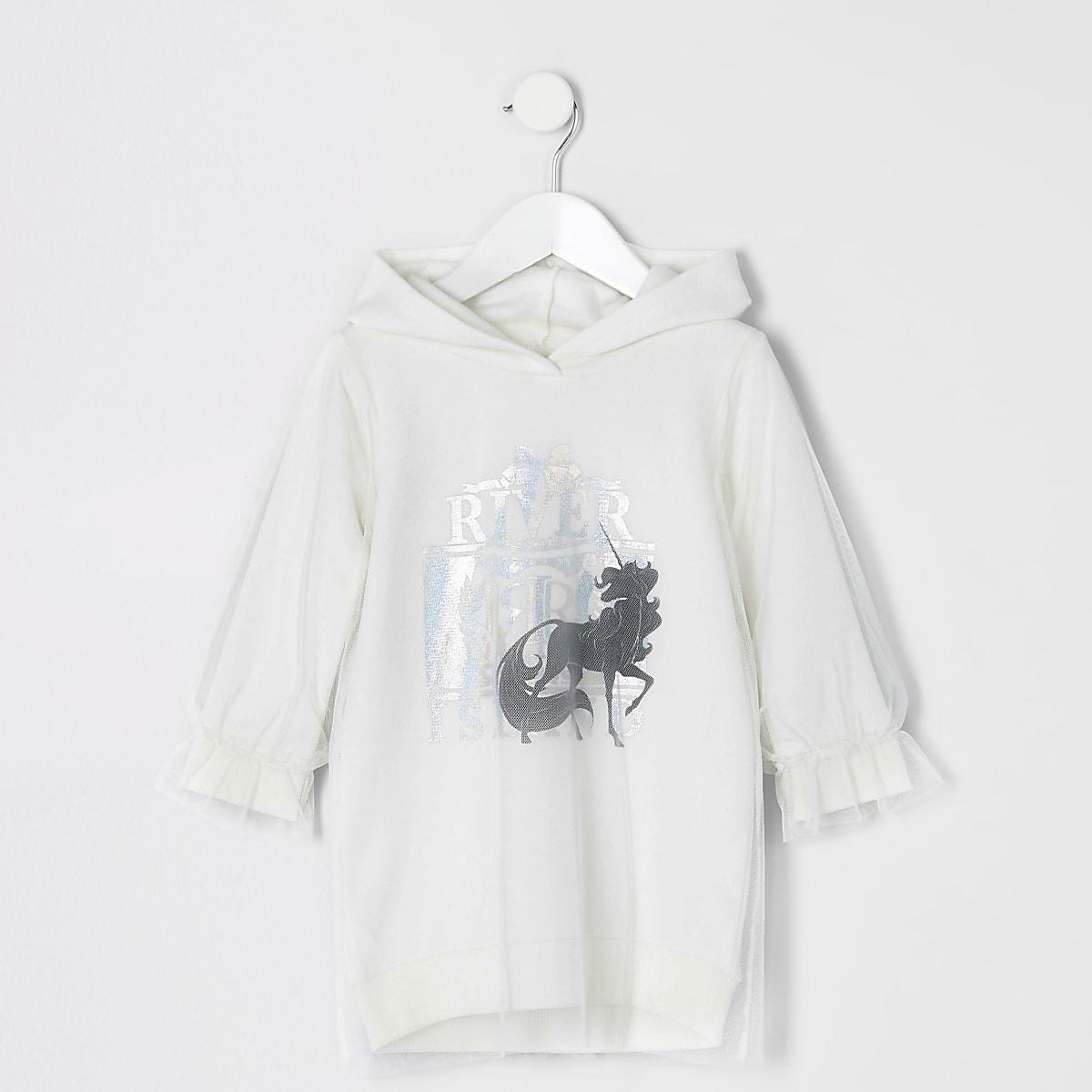 Mini girls white unicorn mesh hoodie dress