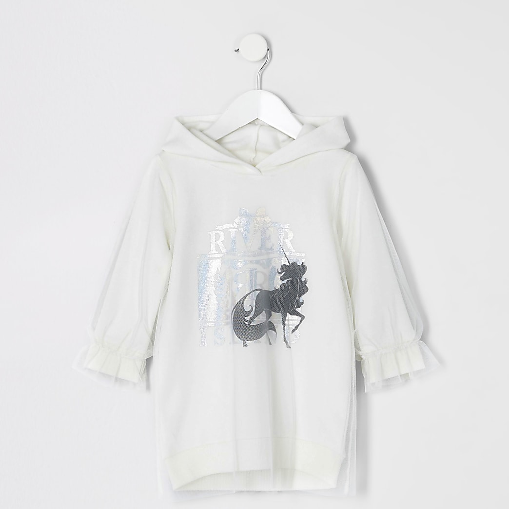 Mini girls white print mesh sweatshirt dress