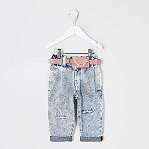 Mini - Blauwe acid wash mom jeans met ceintuur voor meisjes