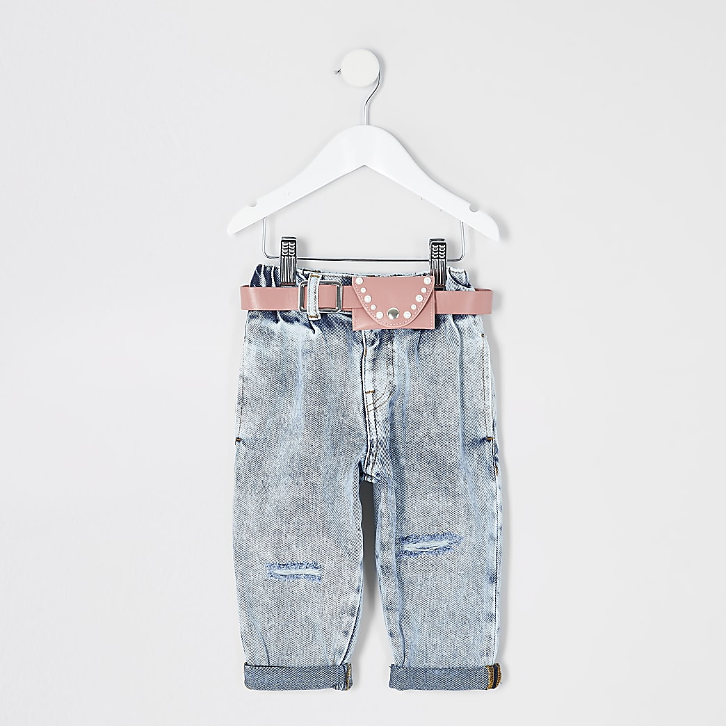 Mini girls blue acid wash belted Mom jeans
