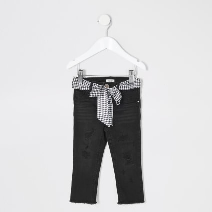 Mini girls black ripped Molly belted jeggings