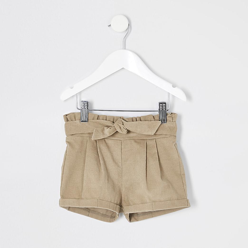 Mini girls beige paperbag cord shorts