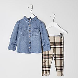 Mini - Blauwe denim overhemd outfit voor meisjes