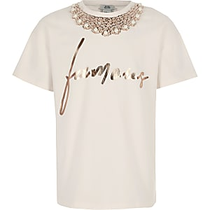 Girls pink famous embellished T-shirt