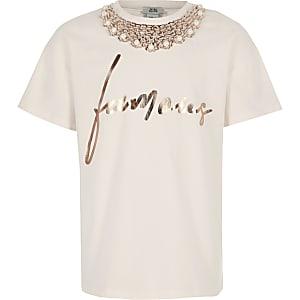T-Shirt in Pink mit Famous-Schriftzug für Mädchen
