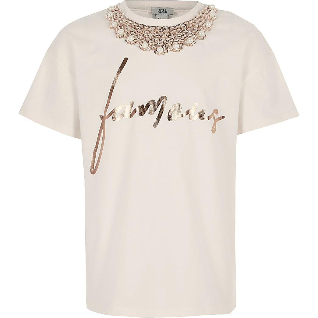 Girls pink famous embellished T-shirt