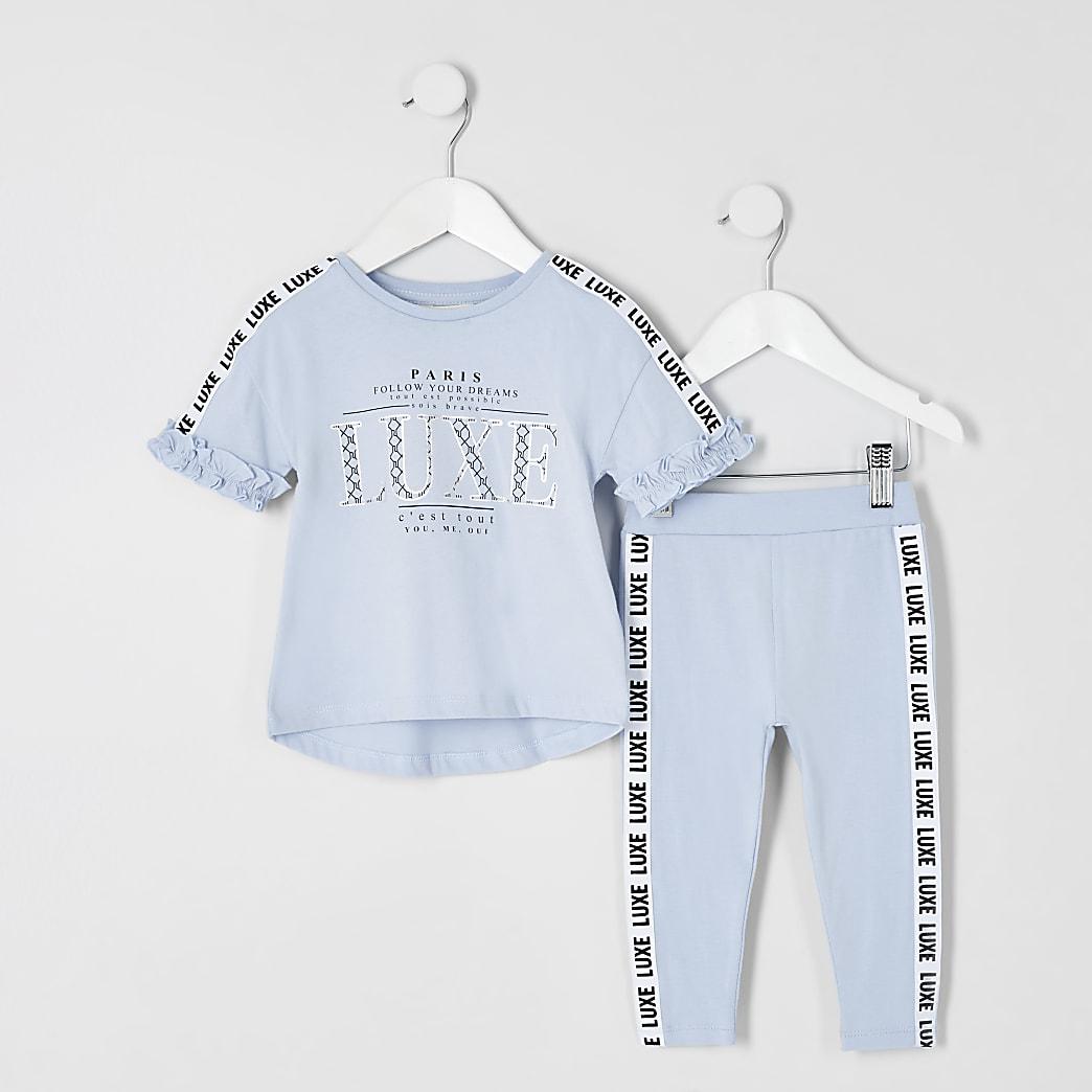 Mini - Outfit met blauw T-shirt met 'Luxe'-tape voor meisjes