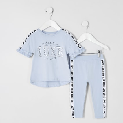 Mini girls blue 'Luxe' tape T-shirt outfit