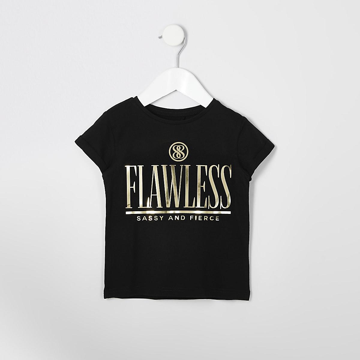 Mini - T-shirt met 'flawless' in spiegelfolie voor meisjes