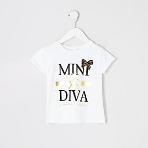 Mini - T-shirt met strik en 'mini diva'-tekst voor meisjes