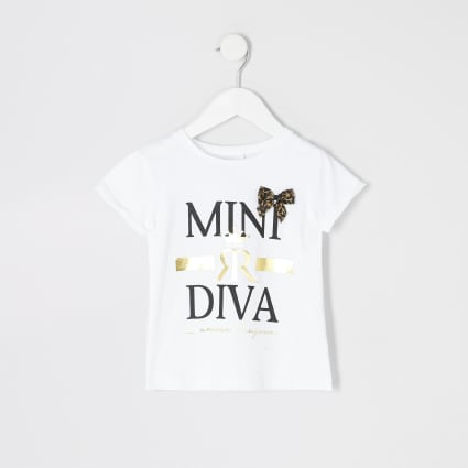 Mini girls 'mini diva' bow T-shirt