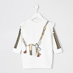 Cremefarbenes Sweater-Kleid mit Tasche und Print für kleine Mädchen