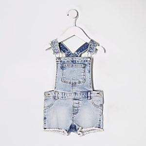 Salopette courte en denim bleu Mini fille