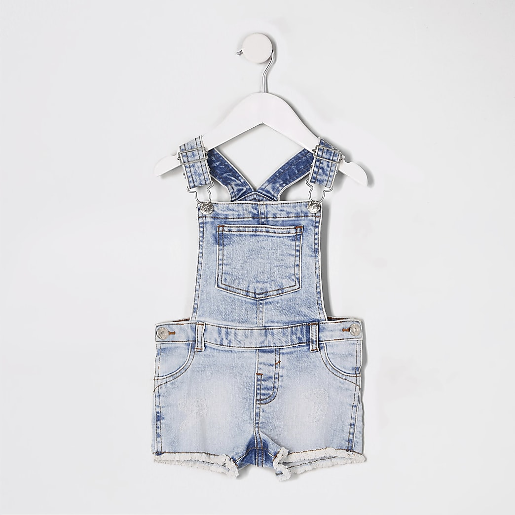 Mini girls blue denim short dungarees
