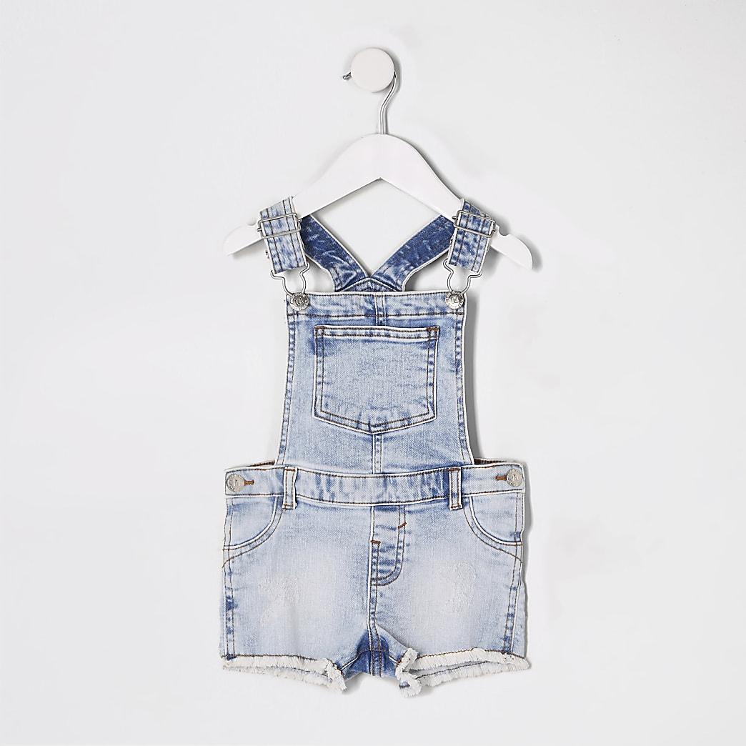 Mini - Blauwe denim short dungaree voor meisjes