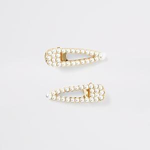 Weiße Haarklammern mit Perlen