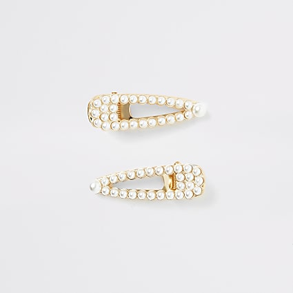 Girls white pearl clip