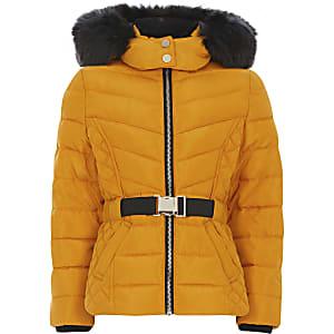Beschichteter Mädchen-Mantel mit Kapuze mit Kunstfell und Gürtel in Gelb