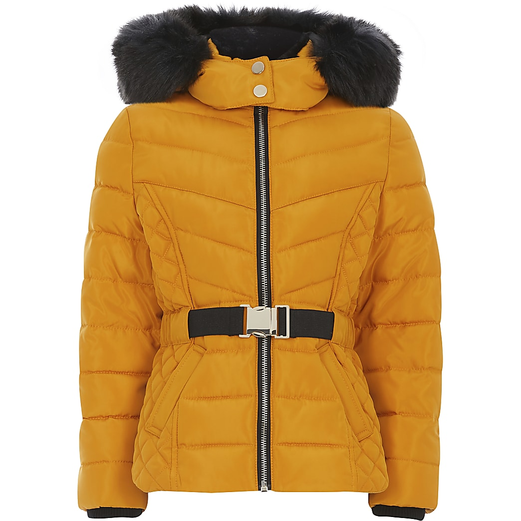 Girls yellow faux fur hood belted padded coat