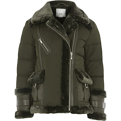 Girls khaki padded aviator jacket