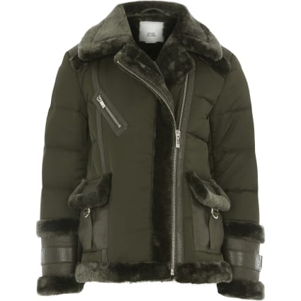 Girls khaki padded aviator jacket