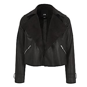 Kurze Wasserfall-Jacke in Schwarz für Mädchen