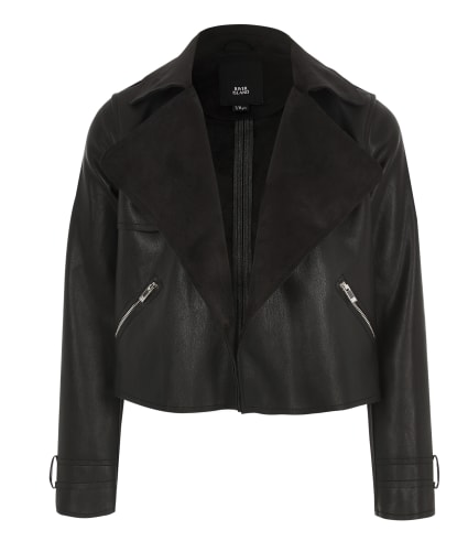 Girls black cropped waterfall jacket