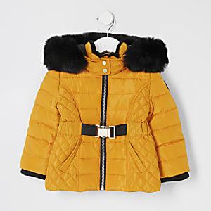 Mini - Beschichteter Mädchen-Mantel mit Gürtel in Gelb