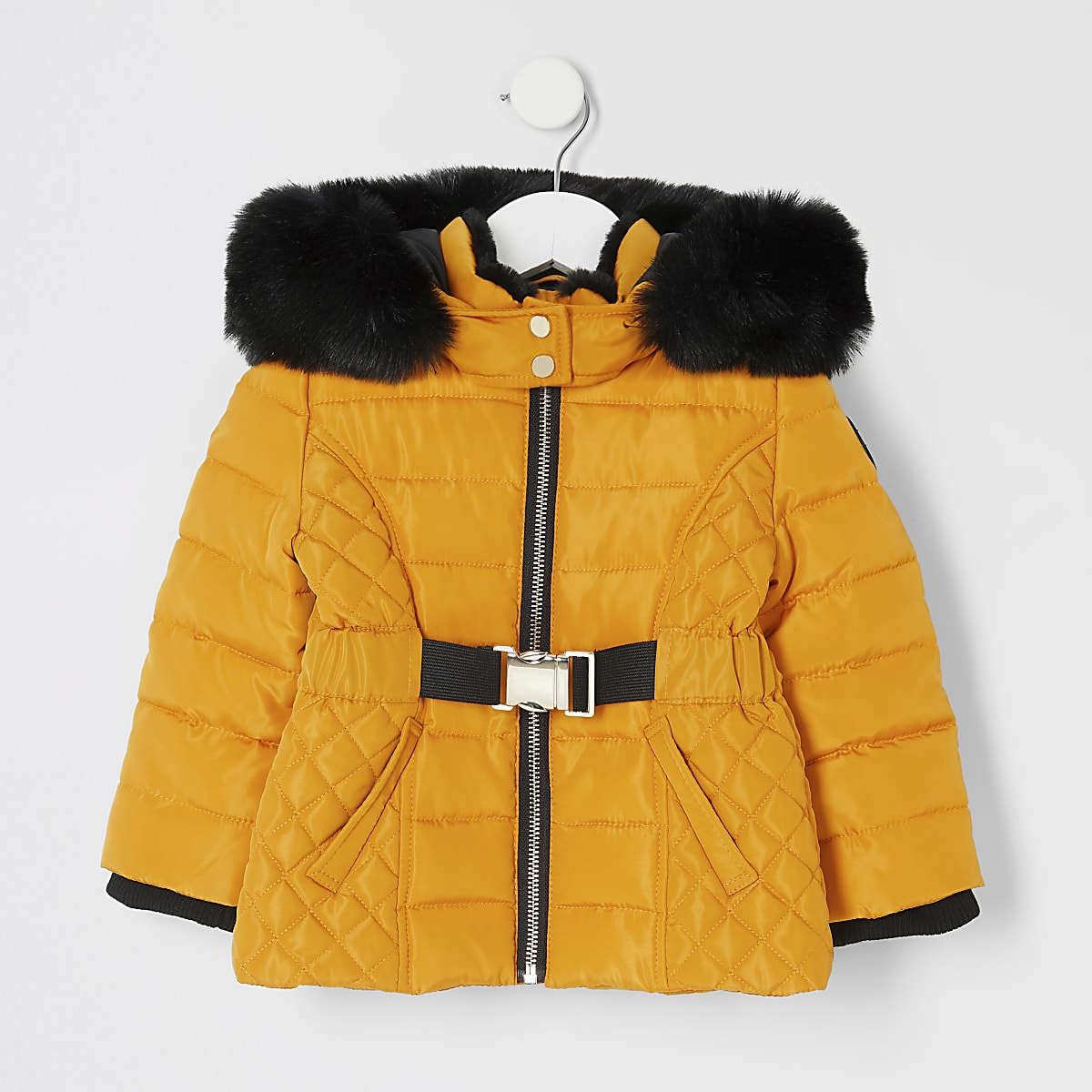 Mini girls yellow belted padded coat
