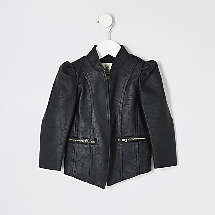 Mini girls faux leather puff sleeve jacket