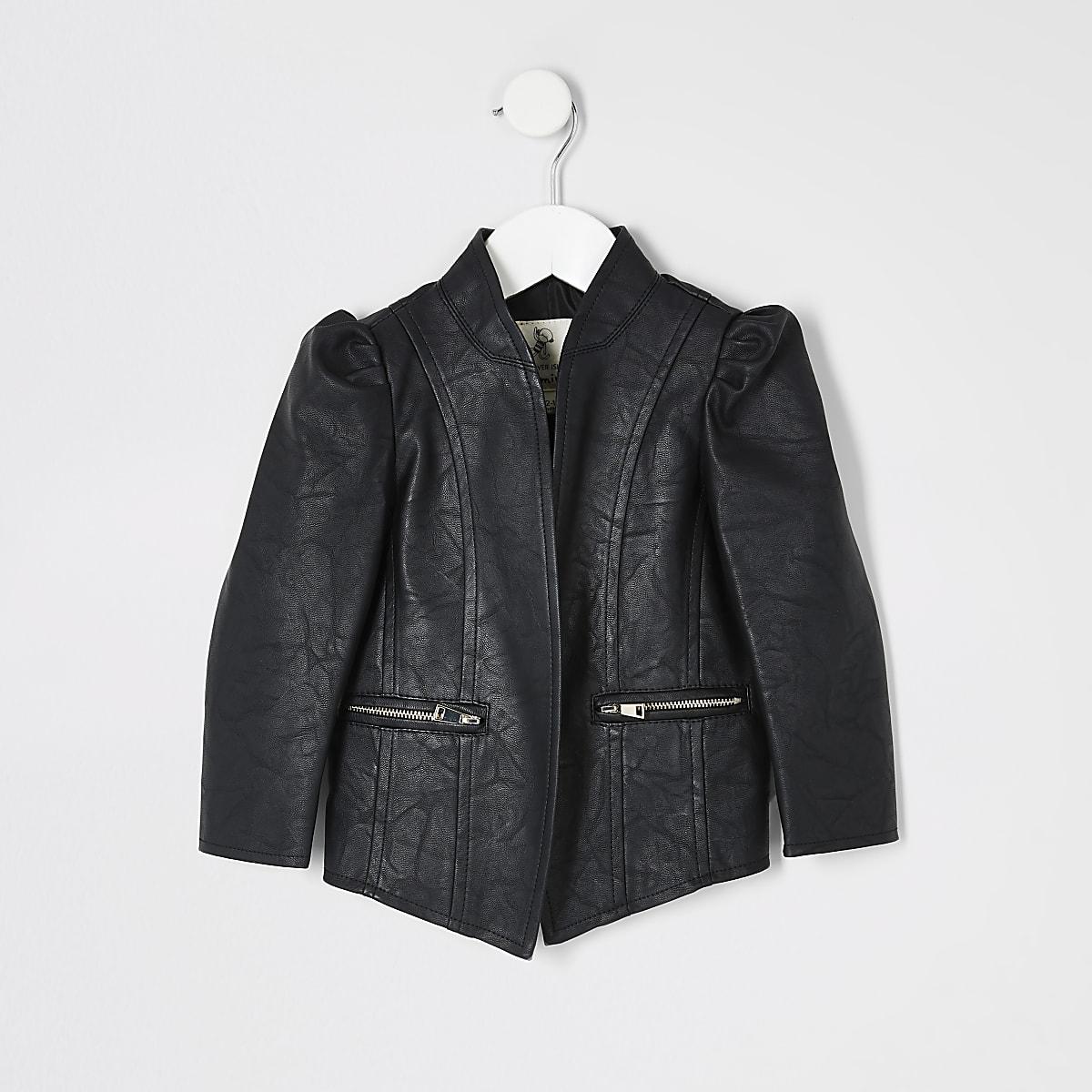 Mini girls faux leather puff sleeve jacket