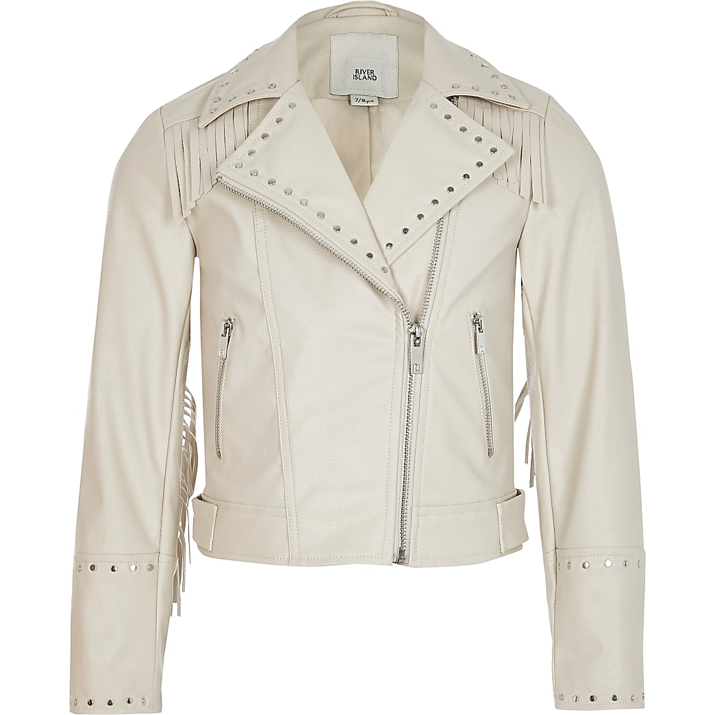 Girls cream tassel studded biker jacket