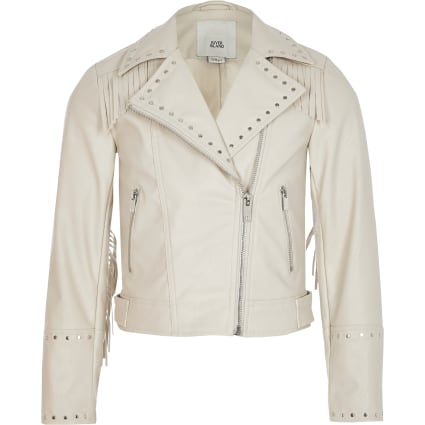 Girls cream tassel studded biker jacket
