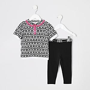 Mini-meisjesoutfit met zwart poloshirt met RI-monogram