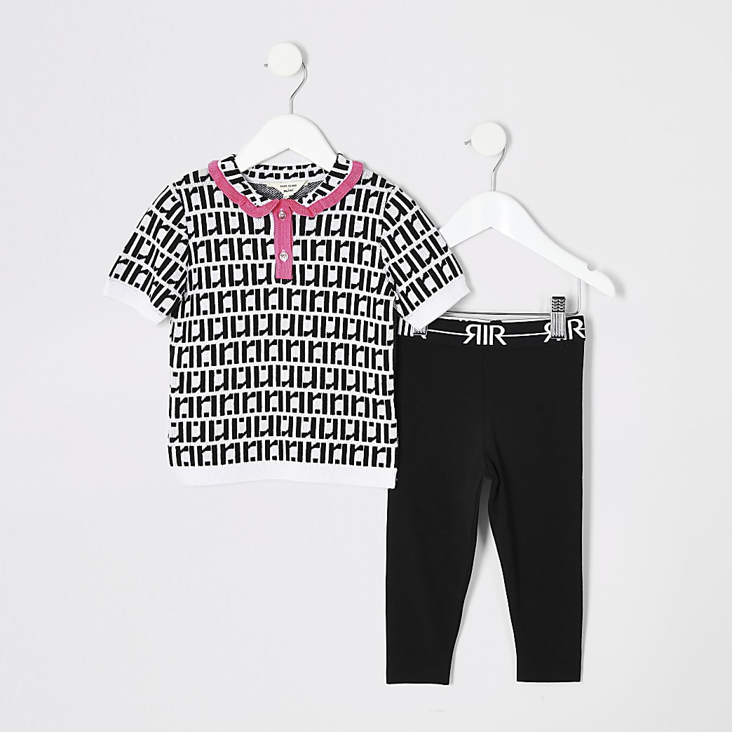 Mini girls black RI mono polo shirt outfit